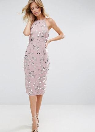 Эксклюзивное премиум платье с невероятным декором камнями и пайетками