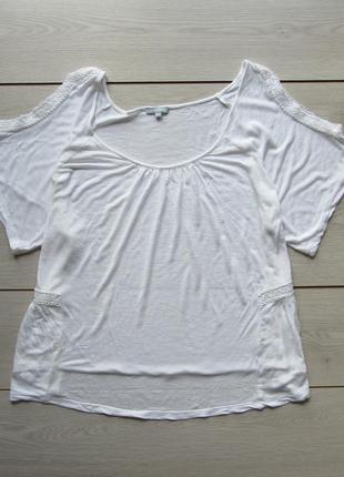 Акция на лето №132 белоснежная блуза с открытыми плечами большой размер от maddison