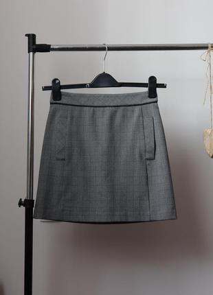 Красивая юбка-трапеция от next в актуальную костюмную клетку