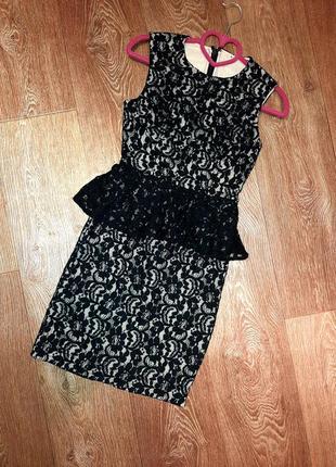 Шикарное платье кружево с баской bebe