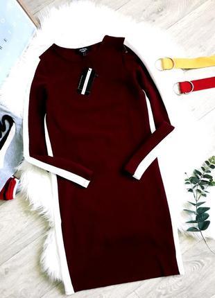 Крутое платье бордо с белыми в вставками jennyfer