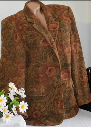 Брендовый пиджак жакет с карманами lion d'or suisse цветы