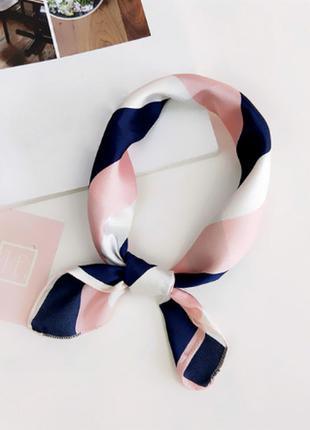 Платок платочек бант лента для волос на сумку топ-качество пудра синий полоска