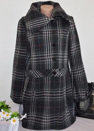Брендовое шерстяное демисезонное пальто в клетку be beau