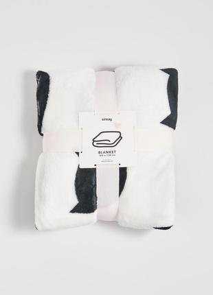 Новый белый плед одеяло покрывало sinsay черный узор принт кот кошка котенок мордочка
