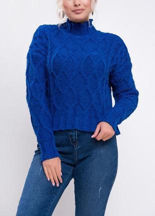 Вязаный джемпер с узорами / свитер с горловиной труба / синий