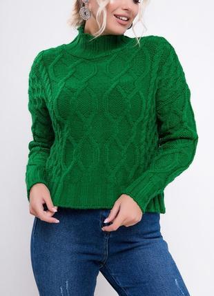 Вязаный джемпер с узорами / свитер с горловиной труба / зеленый