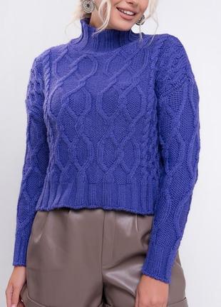 Вязаный джемпер с узорами / свитер с горловиной труба / фиолетовый