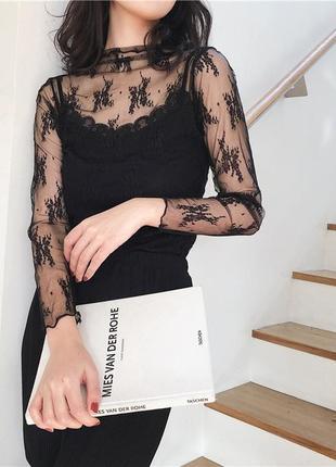 Топ сетка кружево блуза лонгслив черный новый качество