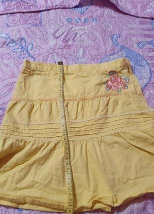 Красивая юбка желтого цвета 128 р, 7-9 лет berti