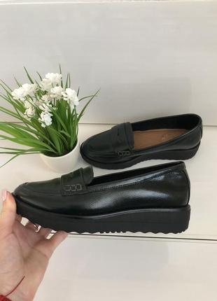 Стильные туфли лоферы на платформе