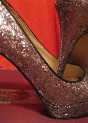 Туфли под темное серебро 39р открытый носик