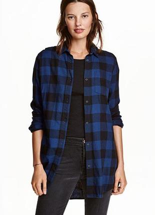 Оригинальная длинная фланелевая рубашка от бренда h&m разм. 32