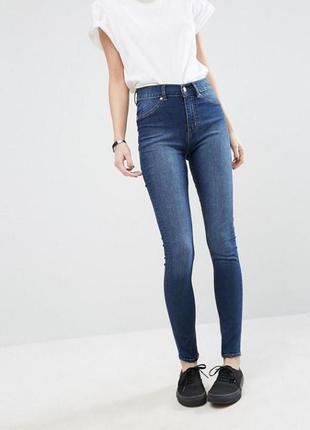 Фирменные джинсы скинни голубого цвета