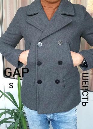 Gap s мужское серое шерстяное двубортное пальто
