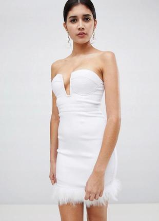 Rare london белое мини-платье пушистый низ
