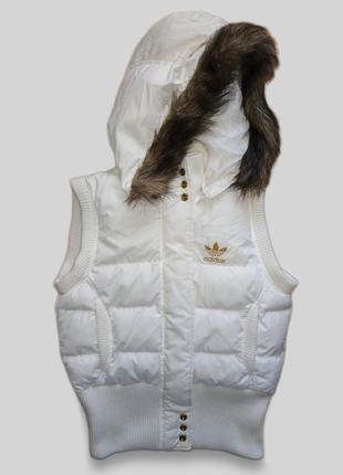 Теплая жилетка adidas оригинал капюшон снимается
