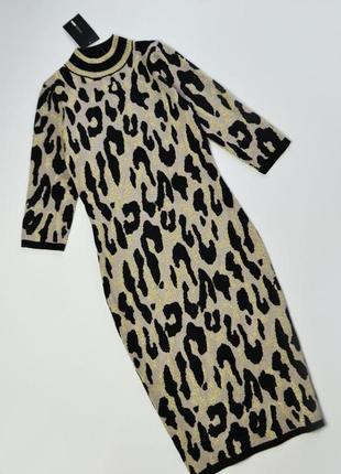 Идеальное теплое облегающее леопардовое платье