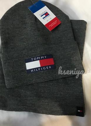 Новый серый вязаный шерстяной комплект, набор {шапка и хомут} tommy