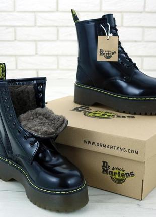 Женские зимние ботинки/ сапоги на платформе dr. martens jadon platform 😍 (с мехом)
