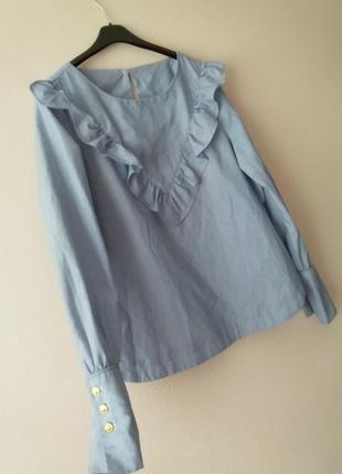 Хлопковая блузка с воланами