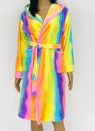 Радужный махровый халат. тёплый халат