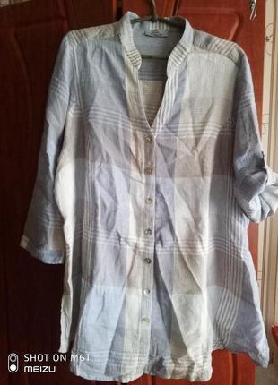 Рубашка батал лен