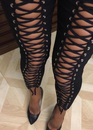 ✅леггинсы штаны брючки по фигуре на шнуровке