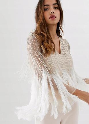 Asos design блуза расшита пайетеками с перьями