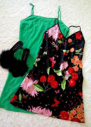 Шелковая ночная сорочка, ночнушка с ярким узором