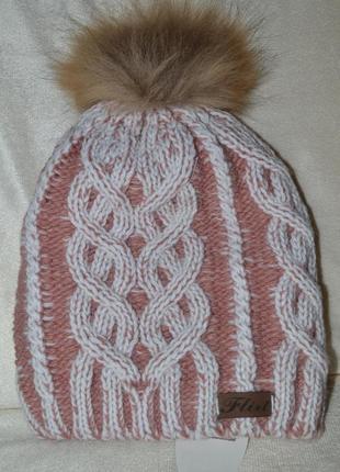 Зимняя флисовая шапка этюд. мех нат енот