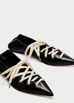 Zara натуральная кожа стильные туфли мюли на шнуровке 38 размер