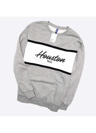 Divided h&m xl / новый плотный мягкий серый свитшот с вышивкой на груди, с начёсом