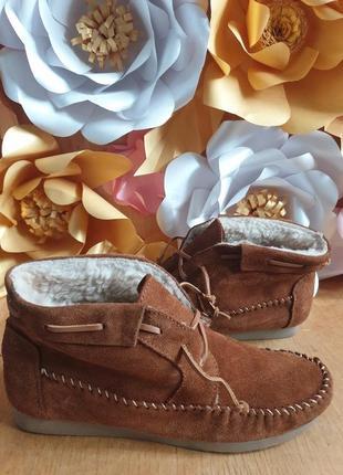 Ботинки из натуральной замши на меху