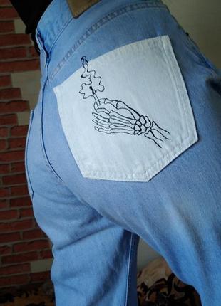 Джинсы высокая талия ручная роспись кастом джинс