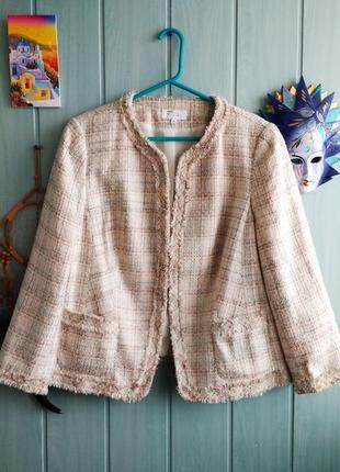 """Стильный буклированный пиджак, жакет в стиле """"шанель"""" большого размера 20uk"""