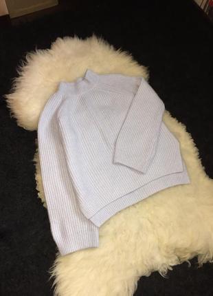 Свитер голубой расклешенный рукав вязаный акрил кофта горловина