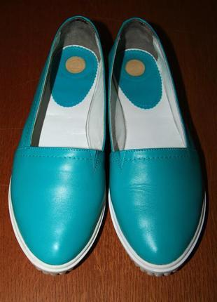Бирюзовые туфли, балетки alex bell
