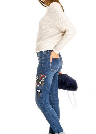 Женские джинсы с вышивкой 3d denim