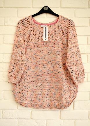 Красивый ажурный свитер из хлопка m&s uk20 новый