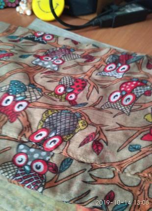 Классный натуральный веселый палантин шарф совы) 175 см на 90 см
