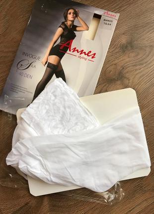 Свадебные чулки 3/4 белые 40 ден на силиконе