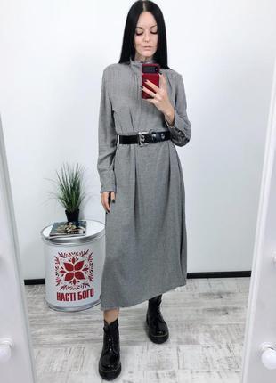 Платье макси миди  в твидовом стиле твид zara