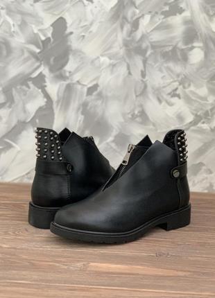 Женские черные демисезонные (осенние) ботинки (сапоги)