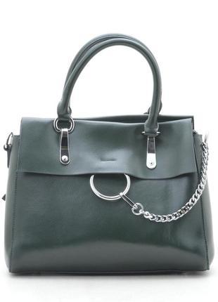 Новая женская кожаная зелёная сумка