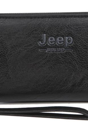 Черный мужской кожаный клатч бумажник jeep buluo