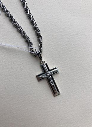 Серебряный крест мужской с эмалью