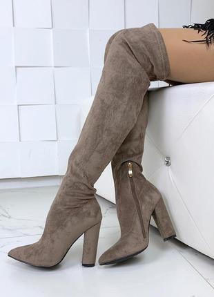 Осенние замшевые ботфорты на каблуке,бежевые осенние высокие сапоги чулки.