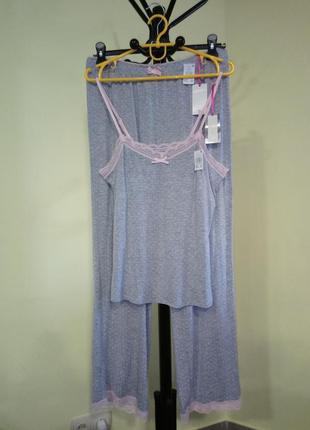 Серая вискозная пижама в горошек primark