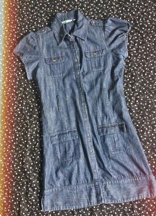Длинное джинсовое платье на высокую девушку